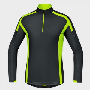 wholesale black and neon green long sleeve marathon t-shirt supplier