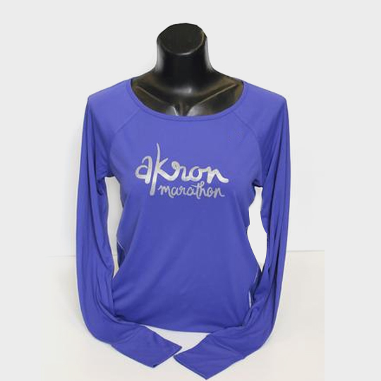 wholesale blue printed long sleeve marathon t-shirt supplier