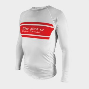 Long Sleeve White and Red Marathon T-shirt Supplier