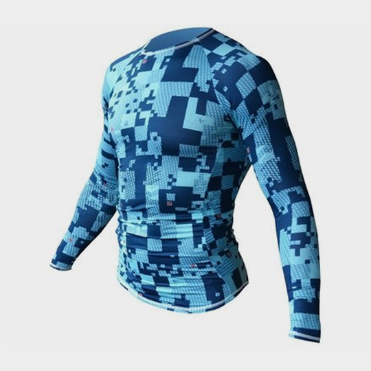 Long Sleeve Blue Camouflage Print Personalised Marathon T-shirt Distributor USA