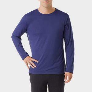 Long Sleeve Blue Mens Marathon T-shirt Wholesale USA
