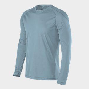 Long Sleeve Greyish Blue Half Marathon T-shirt Manufacture USA