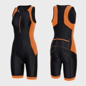 wholesale black and orange triathlon suit supplier