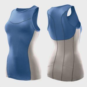 wholesale womens blue and white triathlon suit top supplier
