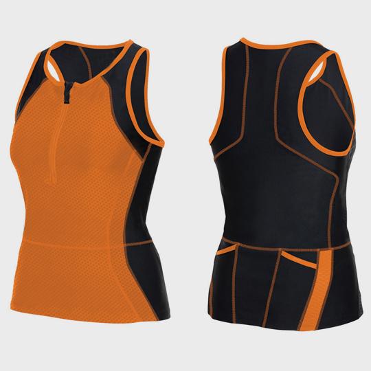 wholesale womens orange and black triathlon suit top supplier