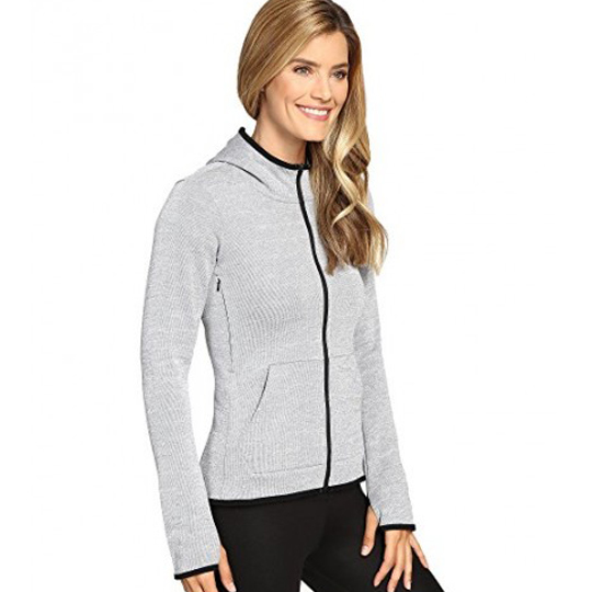 women nike therma full zip hoodie cool grey heather black